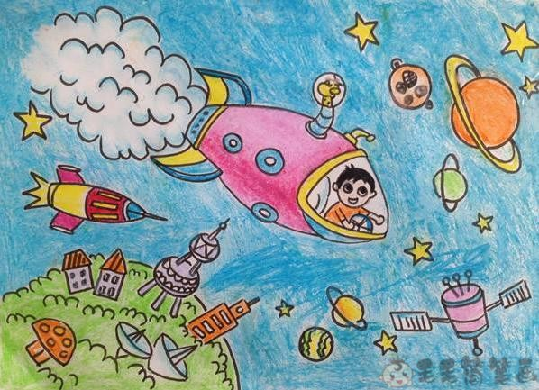宇航幅儿童画绘画