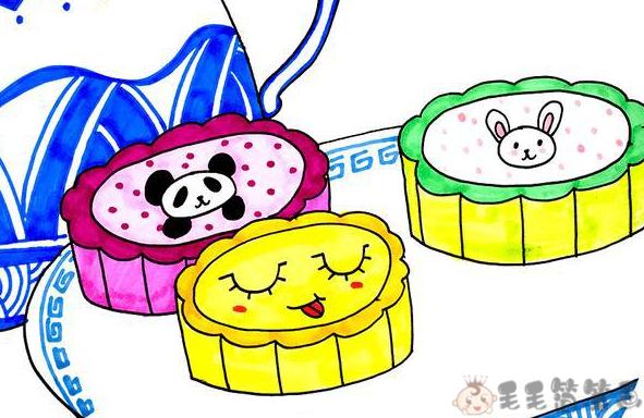 月饼儿童画
