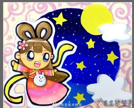中秋节创意儿童画