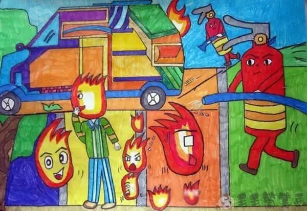 幼儿园消防安全绘画图片