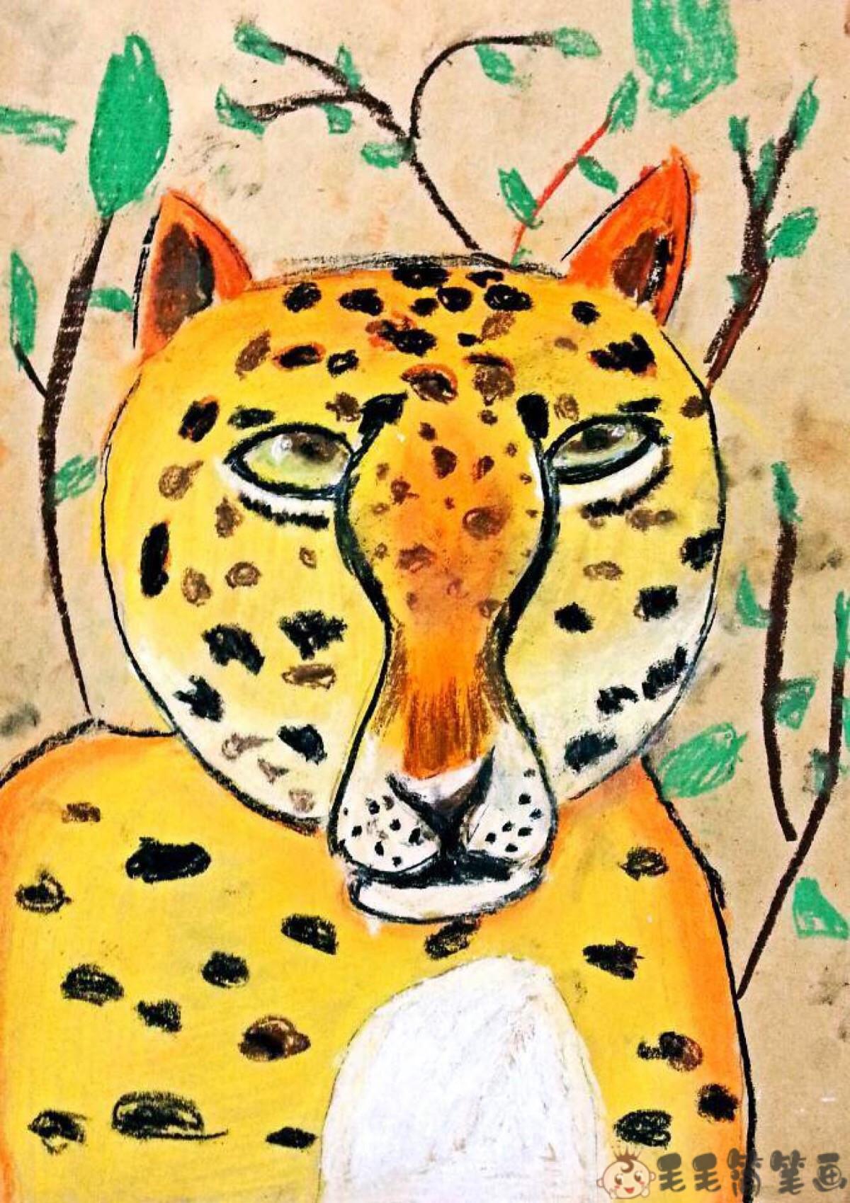 儿童画豹子