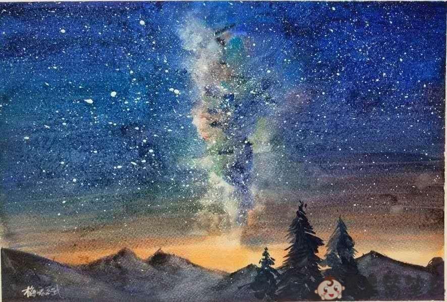 星空儿童画优秀绘画