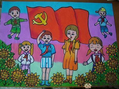 儿童画五星红旗