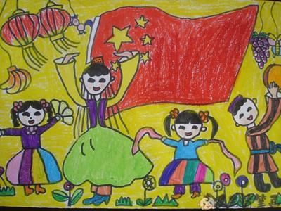 国旗儿童绘画