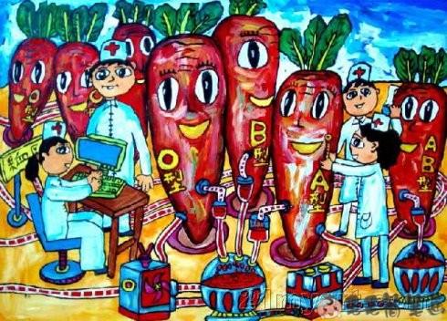 水果拟人儿童画