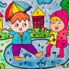 下雨啦儿童美术画